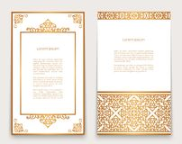 Vintage frames with gold border and corner pattern. Vintage gold frames with swirly border and corner patterns on white, ornate golden decoration for greeting Stock Photography