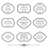 Vintage frames and labels set isolated on white. Calligraphic design elements Stock Photography