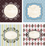Vintage frames on the old fabric. Set. Image for your design Royalty Free Stock Images