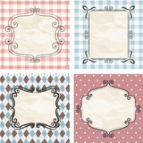 Vintage frames on the old fabric. Set. Image for your design Stock Photography
