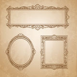 Vintage frames on old paper. Set of banners. Vintage frames on old paper background. Hand drawn  illustration Royalty Free Stock Image