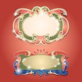Vintage frames on red background Stock Images