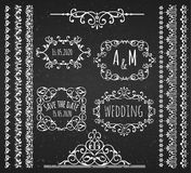 Vintage Frames. Scroll Elements and Borders. Chalkboard Style Royalty Free Stock Photo