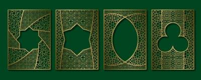 Vintage frames set in arabesque style. Book, booklet, brochure golden covers, greeting card or leaflet backgrounds templates.  vector illustration
