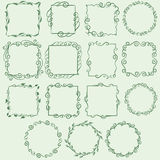 Vintage Frames. Set of 15 vintage frames and wreaths with different shapes. Decorated with swirls, floral designs and repetitive shapes, these frames are perfect Stock Image