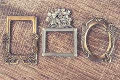 Vintage frames. On a wooden background Royalty Free Stock Image