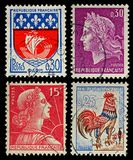 Vintage France Postage Stamps. Four Old French Postage Stamps, circa 1955 to 1967 Stock Photography