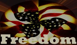 Freedom banner with United States American flag background Stock Illustration