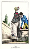 Vintage French fashion illustrated, 1800 Royalty Free Stock Photos