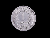 Vintage French Franc coin Stock Photo