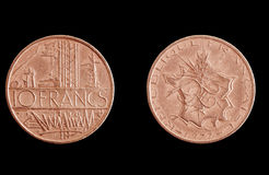 Vintage French Franc coins Royalty Free Stock Photo