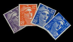 Vintage French postage stamps of 50`s royalty free stock images