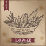 Vintage French sausages template Royalty Free Stock Photo