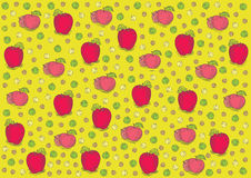 Vintage fresh apples pattern. Colored illustration on banana yellow background. Can be used as template for food pack or labels. EPS 10.0. RGB. This Royalty Free Stock Photo