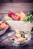 Vintage Fresh Vegetable Salad in Bowl Stock Photography