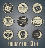 Vintage Friday The 13th Labels. Collection of retro style Friday The 13th labels and badges Royalty Free Stock Images