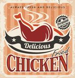 Vintage fried chicken poster design Royalty Free Stock Photos