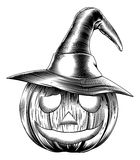 Vintage friendly halloween pumpkin stock illustration