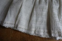 Vintage frills with lace on hem of skirt Stock Image