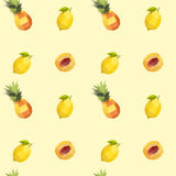 Vintage fruit polygon seamless pineapple peach lemon texture Royalty Free Stock Images