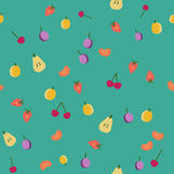 Vintage fruits seamless pattern. Fruits seamless pattern on green, vintage vector background Stock Photography