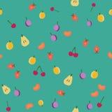 Vintage fruits seamless pattern. Fruits seamless pattern on green, vintage vector background stock illustration