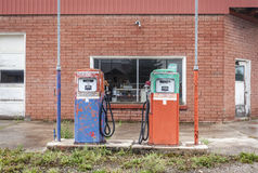 Vintage fuel pomp at closed petrol station Royalty Free Stock Photo