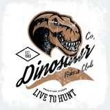 Vintage furious dinosaur bikers gang club tee print vector design. Savage monster head street wear t-shirt emblem. Premium quality wild reptile superior mascot Stock Photography