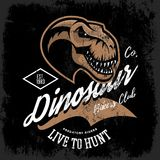 Vintage furious dinosaur bikers gang club tee print vector design. Savage monster head street wear t-shirt emblem. Premium quality wild reptile superior mascot Stock Image