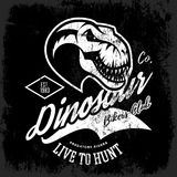 Vintage furious dinosaur bikers gang club tee print vector design. Savage monster head street wear t-shirt emblem. Premium quality wild reptile superior mascot Stock Images
