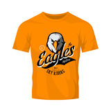 Vintage furious eagle bikers gang club vector logo concept isolated on orange t-shirt mockup. 