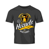 Vintage furious hornet bikers gang club vector logo concept isolated on black t-shirt mockup. 