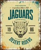 Vintage furious jaguar custom motors club t-shirt vector logo on light background.  Stock Photography