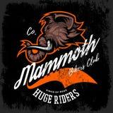 Vintage furious woolly mammoth bikers gang club tee print vector design. Street wear t-shirt emblem. Stock Photography