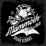 Vintage furious woolly mammoth bikers gang club tee print vector design. Stock Photography