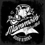 Vintage furious woolly mammoth bikers gang club tee print vector design. Street wear t-shirt emblem Stock Photography