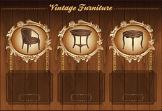 Vintage furniture flyer Stock Photography