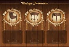 Vintage furniture flyer. Vintage furniture wooden template for flyer, vector background with illustrations Stock Photography