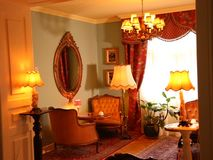 Vintage furniture and lamps. Chairs and mirror stock footage