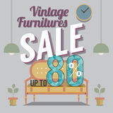 Vintage Furniture Sale Up to 80 Percent. Royalty Free Stock Photo