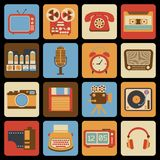 Vintage gadget icons vector illustration