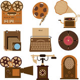 Vintage gadgets. Set of vintage gadgets on isolated background Stock Photography