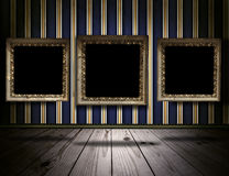Vintage gallery background with old victorian frames Royalty Free Stock Image