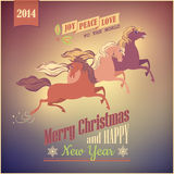 Vintage Galloping Horse Vector Christmas 2014 Card. Vintage Christmas 2014 card with three horses galloping on abstract retro background vector illustration