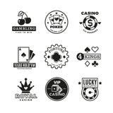 Vintage gambling, casino, poker royal tournament, roulette vector labels, emblems, logos and badges. Poker game logo, illustration of gamble game emblem stock illustration