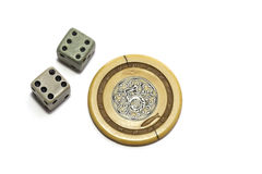 Vintage gambling dice and poker chip Royalty Free Stock Photography
