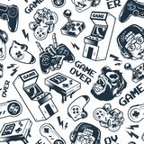 Vintage gaming seamless pattern. With joysticks gamepad gorilla in virtual reality headset broken gamepad retro arcade game machine pocket console vector stock illustration