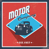 Vintage garage background. Old retro pick-up truck. As a symbol of transport and shipping. Eps10 vector illustration Stock Photos