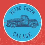Vintage garage background. Old retro pick-up truck as a symbol of transport and shipping. Vector. Illustration Royalty Free Stock Image