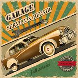 Vintage garage retro poster. Garage service Royalty Free Stock Photo